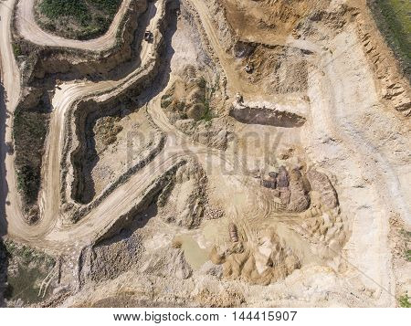 Mining Quarry With Special Equipment, Open Pit Excavation. Sand Mine. View From Above.
