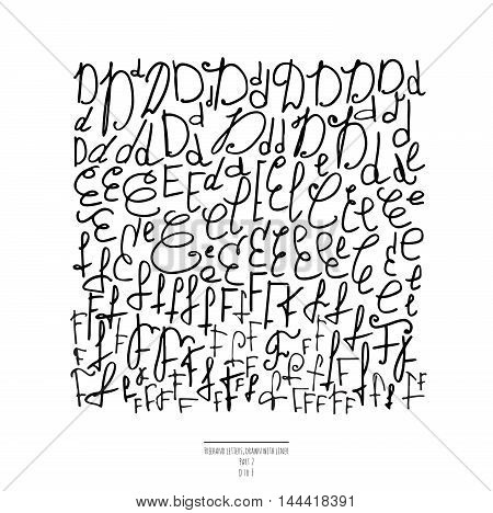 Large vector set of hand drawn with black liner letters isolated on white background. Part 2 includes letter D letter F and letter E. Collection of freehand letters in different shapes and styles