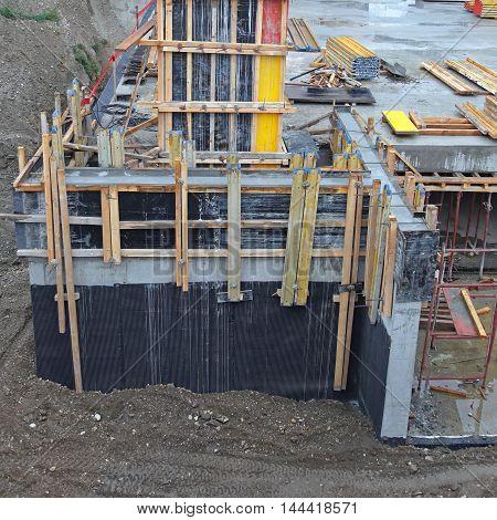Construction Site Concrete Basement Foundations For New Buiding