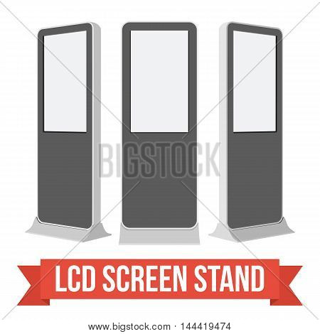 LCD Screen Floor Stand. Black Trade Show Booths with different angles. Vector illustration of kiosk machines isolated on white background. Ad template for your expo design with ribbon banner text.