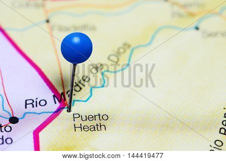 Puerto Heath pinned on a map of Bolivia