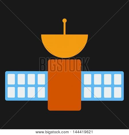 Space satellite communication dish radio signal network on black background. Vector sputnik technology wireless space radio signal. Vector flat illustration.