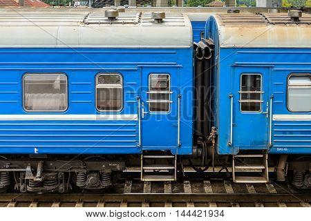BREST, BELARUS - AUG 30, 2014: Train Brest - Moscow at the Central Railway station in Brest, Belarus. Brest railway station was found in 1886