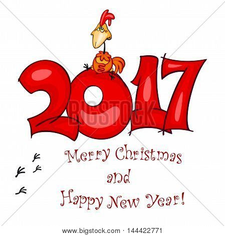 New Year's postcard. Vector illustration of red rooster symbol of 2017 on the Chinese calendar. Vector element for New Year's design.