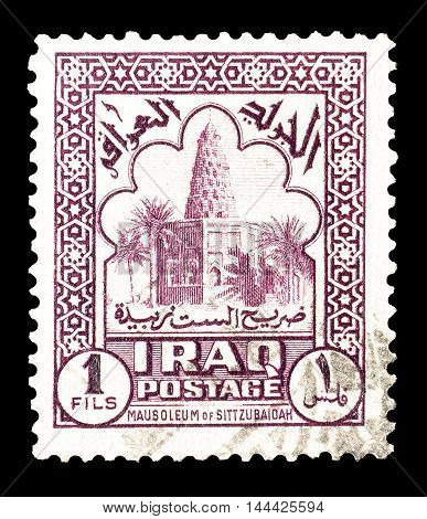 IRAQ - CIRCA : 1942 : Cancelled postage stamp printed by Iraq, that shows Sitt Zubaidah mosque.