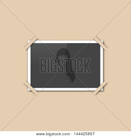Blank retro photo frame on the album page vector illustration.