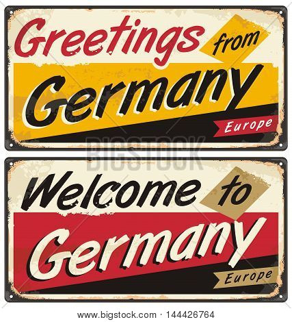 Germany vintage vector souvenir sign or postcard templates. Travel theme. Places to visit and remember. Hello world.