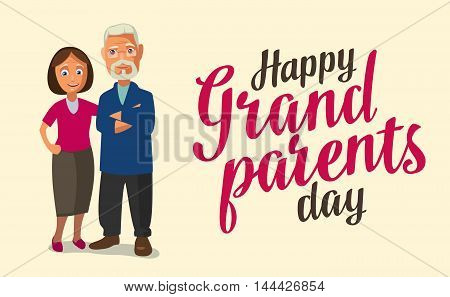 Happy grandparents day. Color flat vector illustration isolated on beige background. Hand drawn lettering.