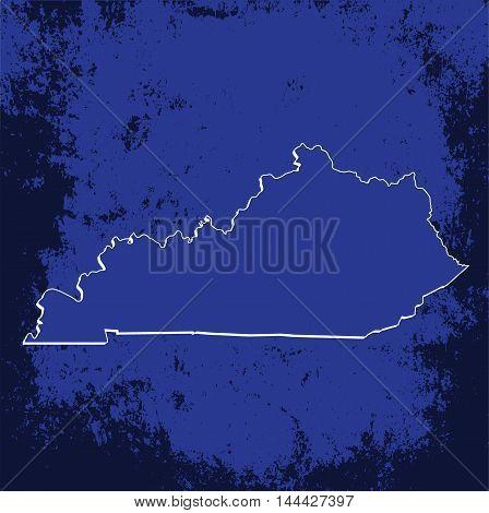3D Kentucky (USA) Grunge Blueprint outline map with shadow
