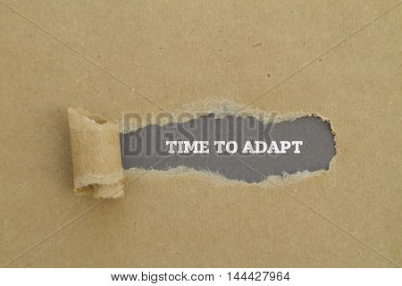 TIME TO ADAPT message written under torn paper. poster