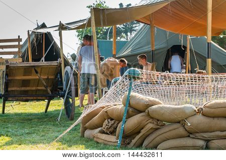 Soldiers Install Sandbags For The Commemoration Of The Liberation