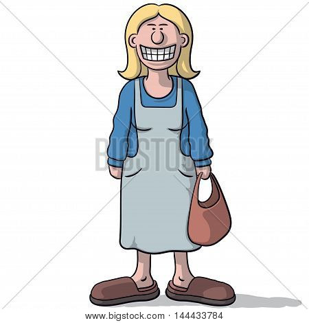 Cartoon Woman With A Fake Smile
