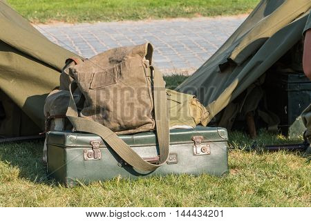 Past Baggage On Display In A Reconstructed Military Camp