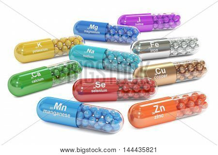 Capsules with Mn Ca K Se Zn Cu Fe Mg I Na element dietary supplement 3D rendering isolated on white background