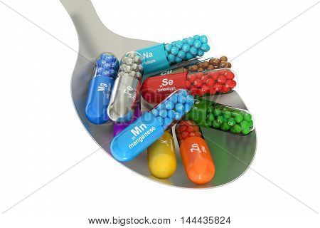 Capsules with Mn Ca K Se Zn Cu Fe Mg I Na element dietary supplement in the spoon 3D rendering isolated on white background