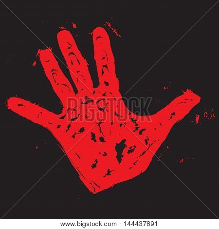 Red hand print. Hand print paint blood trace vector illustration
