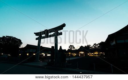 Japanese Shrine Gate silhouette shadow bluesky background