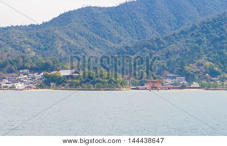 Miyajima Island Landscape view from the ferry