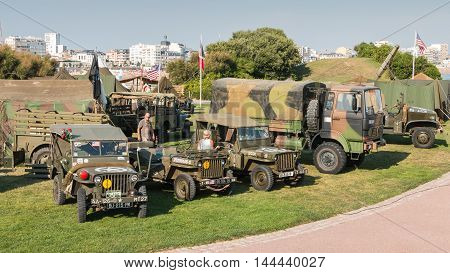 Set Of Military Vehicles On Display In The City