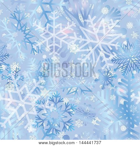 Snow Tiled Pattern. Snowflakes Textured Background. White Snow Falling On Ble Background Gentle Seam