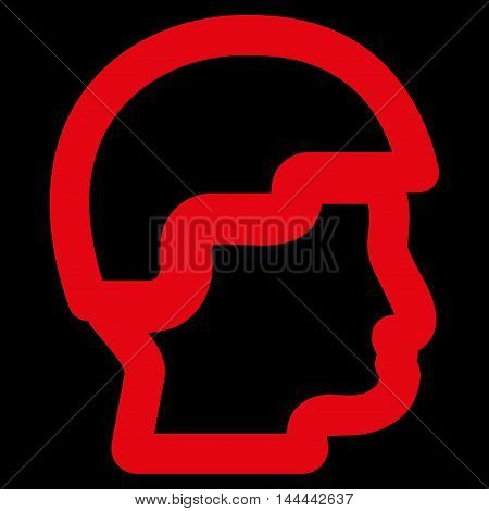 Sergeant Head vector icon. Style is contour flat icon symbol, red color, black background.