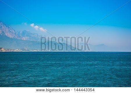 Summer landscape with sea and mountain of Kemer, Turkey