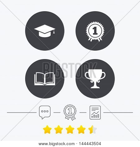 Graduation icons. Graduation student cap sign. Education book symbol. First place award. Winners cup. Chat, award medal and report linear icons. Star vote ranking. Vector