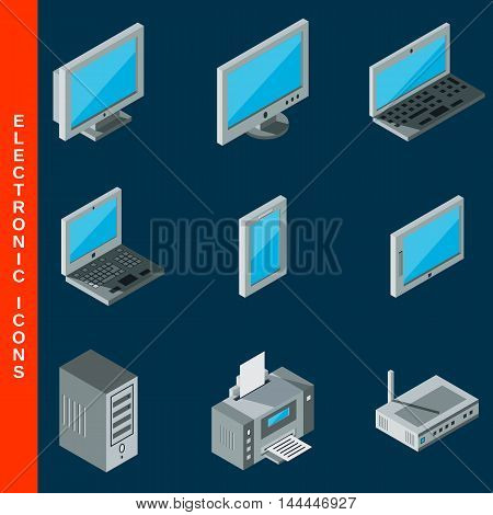 Isometric flat 3d computer equipment icons collection