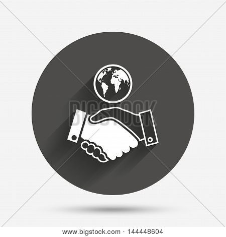 World handshake sign icon. Amicable agreement. Successful business with globe symbol. Circle flat button with shadow. Vector