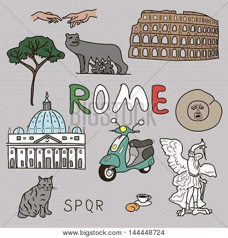 color doodle set of Rome symbols Vector illustration