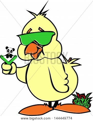 Funny Duckling Funny Duckling with effect,  Duck mascot - comic,    Funny Duckling & baby panda