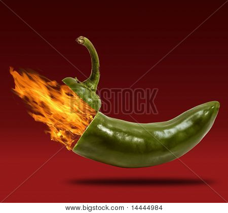 Cap Of Jalapeno Opening Blowing Fire