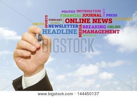 Hand writing words about Online News concept .