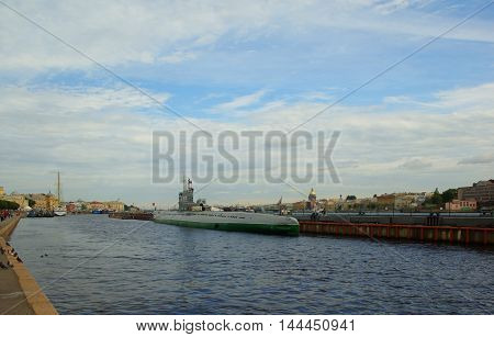 Submarine C-189 at the Lieutenant Schmidt Embankment in St. Petersburg