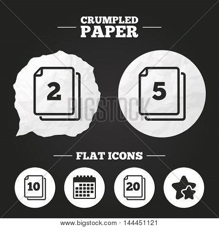 Crumpled paper speech bubble. In pack sheets icons. Quantity per package symbols. 2, 5, 10 and 20 paper units in the pack signs. Paper button. Vector