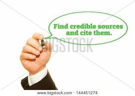 """Hand writing """"Find credible sources and cite them"""". on a transparent wipe board. poster"""