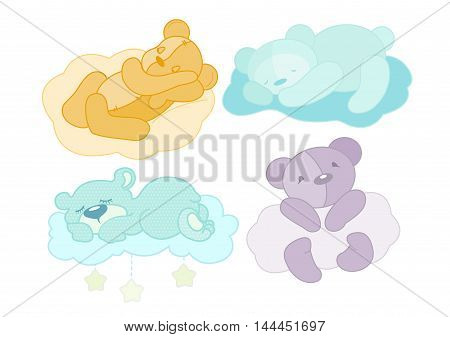 Vector illustration of a four teddy bear set