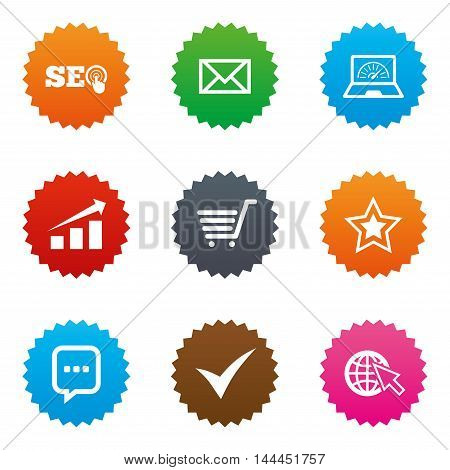Internet, seo icons. Tick, online shopping and chart signs. Bandwidth, mobile device and chat symbols. Stars label button with flat icons. Vector