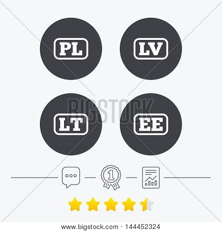 Language icons. PL, LV, LT and EE translation symbols. Poland, Latvia, Lithuania and Estonia languages. Chat, award medal and report linear icons. Star vote ranking. Vector