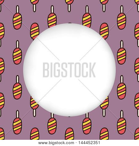 Greeting card background. Paper cut out, white shape with place for text. Frame with seamless pattern. Seamless summer background. Hand drawn pattern. Bright and colorful ice lolly backdrop