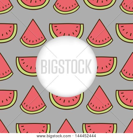 Greeting card background. Paper cut out, white shape with place for text. Frame with seamless pattern. Seamless summer background. Hand drawn pattern. Bright and colorful watermelon backdrop