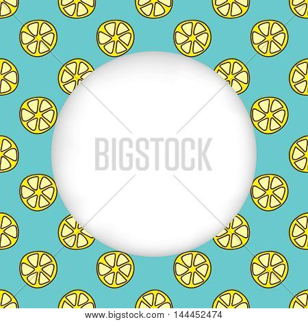 Greeting card background. Paper cut out, white shape with place for text. Frame with seamless pattern. Seamless summer background. Hand drawn pattern. Bright and colorful lemon slices backdrop