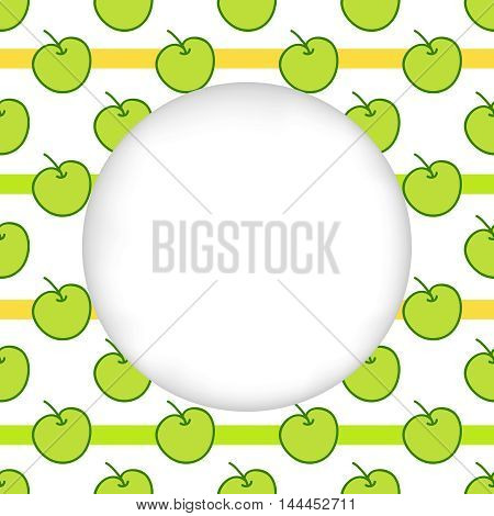 Greeting card background. Paper cut out, white shape with place for text. Frame with seamless pattern. Seamless summer background. Hand drawn pattern. Bright and colorful green apples