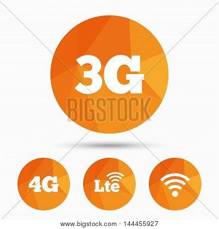 Mobile telecommunications icons. 3G, 4G and LTE technology symbols. Wi-fi Wireless and Long-Term evolution signs. Triangular low poly buttons with shadow. Vector