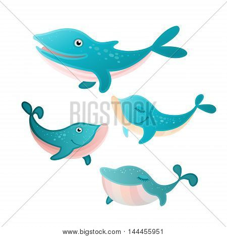 Vector illustration of a four whales set