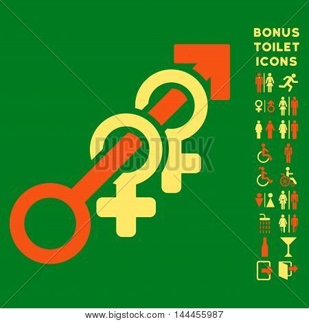Harem icon and bonus man and female restroom symbols. Vector illustration style is flat iconic bicolor symbols, orange and yellow colors, green background.