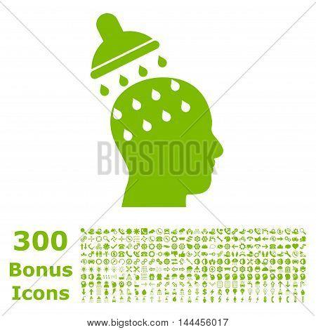 Brain Washing icon with 300 bonus icons. Vector illustration style is flat iconic symbols, eco green color, white background.