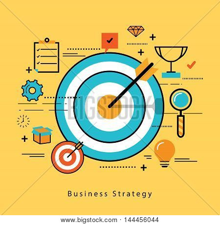 Line flat business design and infographic elements for market data analytics, strategic and investment management, consulting, advertising and promoting, business and marketing strategy
