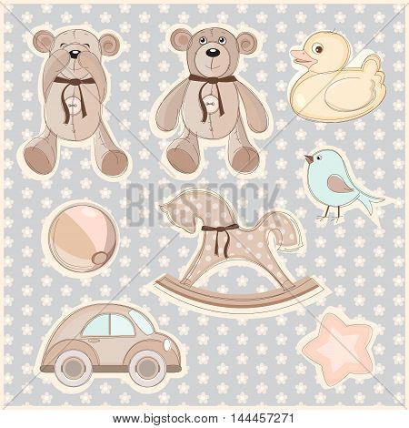 Vector illustration of a set of children's toys