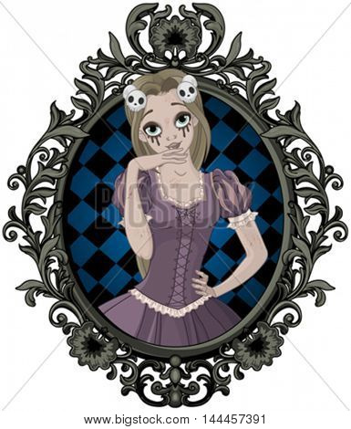 Illustration of beautiful girl dressed up like zombie Rapunzel